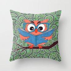 Owl Drawing Meditation Throw Pillow