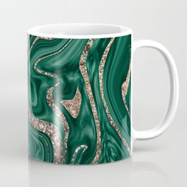 Emerald Green Black Gold Glitter Marble #1 #decor #art #society6 Coffee Mug