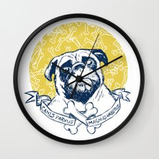 Pug : Small dog, big attitude. Wall Clock