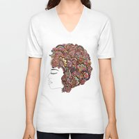 hair V-neck T-shirts featuring Her Hair - Les Fleur Edition by Bianca Green