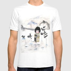 Cat and me MEDIUM White Mens Fitted Tee
