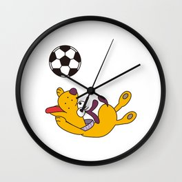 Dog playing with ball Wall Clock