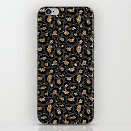 Black Gold Leopard Print Pattern iPhone Skin
