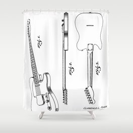 Electric Guitar Patent - Guitar Player Art - Black And White Shower Curtain
