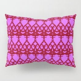 Wicker twisted pattern of wire and pink arrows on a violet background. Pillow Sham