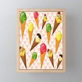 Ice cream hearts-Rosa Framed Mini Art Print