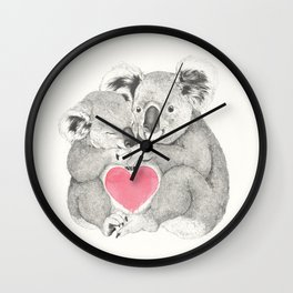 Koalas love hugs Wall Clock