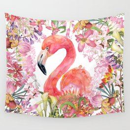 Flamingo in Tropical Flower Jungle Wall Tapestry