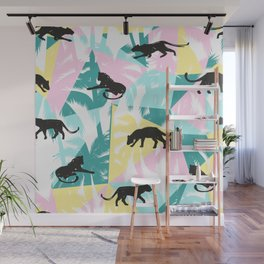 Black panthers modern tropical geometric background Wall Mural
