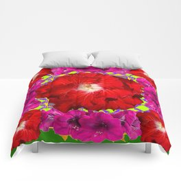 Tropical Red Hibiscus & Fuchsia Florals Green Color Comforters