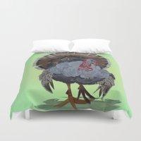 turkey Duvet Covers featuring wild turkey by Ruud van Koningsbrugge