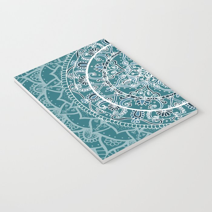 Detailed Teal and Blue Mandala Pattern Notebook
