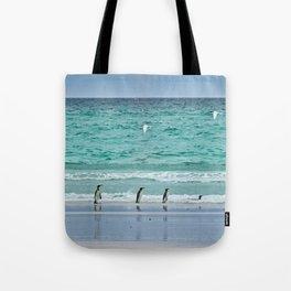 Falkland Island Seascape with Penguins Tote Bag