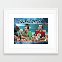 bazinga Framed Art Prints featuring Tribble Bazinga by Rabittooth