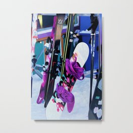 Snow Time - Snowboards and Skis Metal Print
