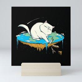 Flat Earth Cat Mini Art Print