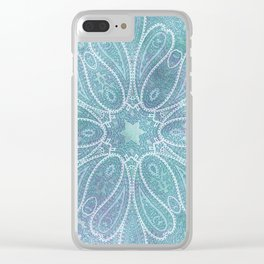 floral paisley star in light teal Clear iPhone Case
