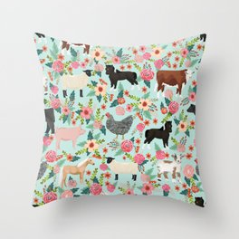 Farm animal sanctuary pig chicken cows horses sheep floral pattern gifts Throw Pillow
