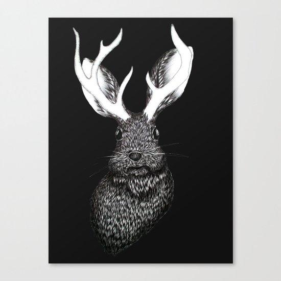 The Jackalope in Black Canvas Print