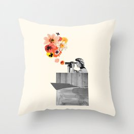 in bloom (black & white) Throw Pillow