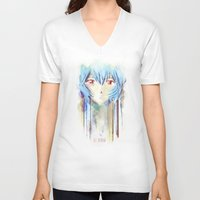 evangelion V-neck T-shirts featuring Rei Ayanami from Evangelion Digital Mixed Media by Barrett Biggers