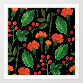 Botanic Watercolor Collection #8 - Red clove Art Print
