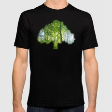 MM - Sunny forest MEDIUM Black Mens Fitted Tee