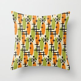 Retro Mid Century Modern Cosmic Surfer Pattern 231 Orange and Olive Throw Pillow