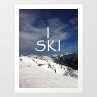 ski Art Prints featuring I SKI by BACK to THE ROOTS
