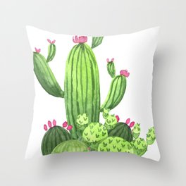 Green Cacti with Pink Flowers Throw Pillow