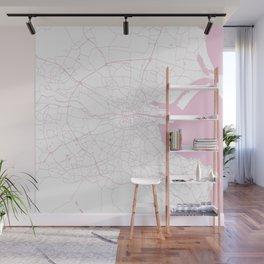 White on Pink Dublin Street Map Wall Mural