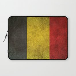 Old and Worn Distressed Vintage Flag of Belgium Laptop Sleeve