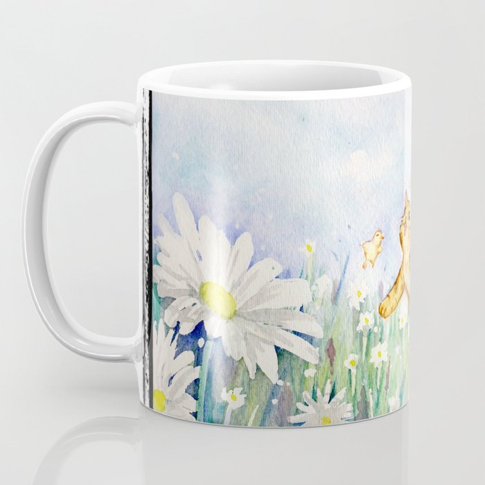cute cat frolicking with chicks Coffee Mug