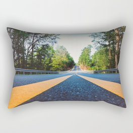 Between yellow lines Rectangular Pillow
