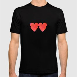 Two hearts pierced with one arrow T-shirt