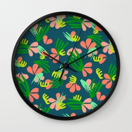 Henri's Garden in blue // tropical flora pattern Wall Clock