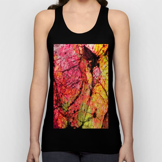 Conflict - textured abstract in pink, black and yellow Unisex Tank Top