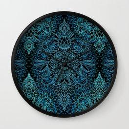 Black & Aqua Protea Doodle Pattern Wall Clock