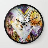 "flora bowley Wall Clocks featuring ""Burn Bright"" Original Painting by Flora Bowley by Flora Bowley"