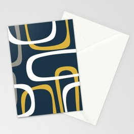 Mid Century Modern Loops Pattern in Light Mustard Yellow, Navy Blue, Gray, and White Stationery Cards