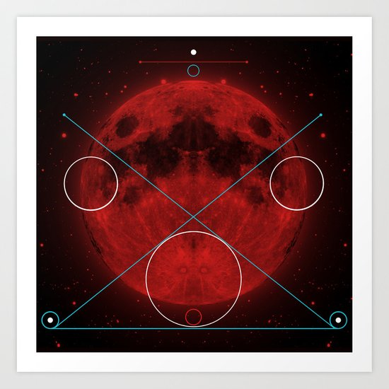 Red Moon Graphish. Art Print