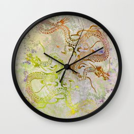Peony Dragons Chinoiserie Chic Stencil Art  -  Pale Gold Wall Clock