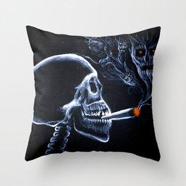 A smoker's portrait Throw Pillow