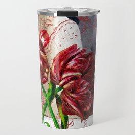 Tulip And Bohemian Waxwing Travel Mug