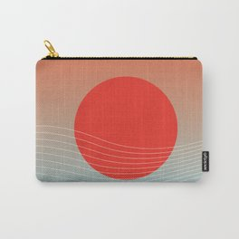Red sun & white waves Carry-All Pouch