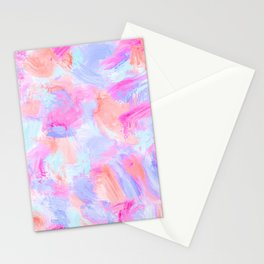 Modern Girly Pink Coral Purple Abstract Paint Stationery Cards