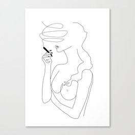 Woman Smoking Canvas Print
