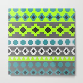 Bright tribal stripes in green and blue Metal Print