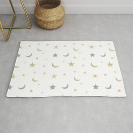 Gold and silver moon and star pattern Rug