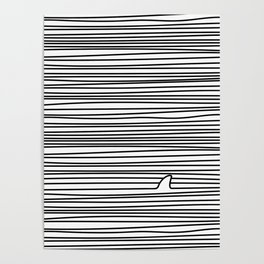 Minimal Line Drawing Simple Unique Shark Fin Gift Poster